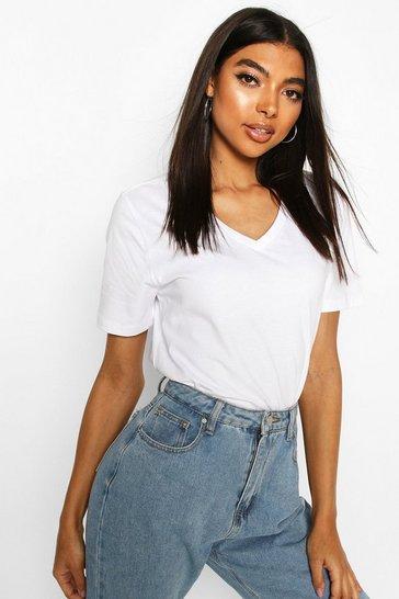 White Tall V-Neck Cotton T-Shirt
