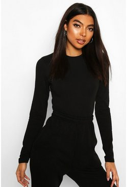 Black Tall Crew Neck Bodysuit