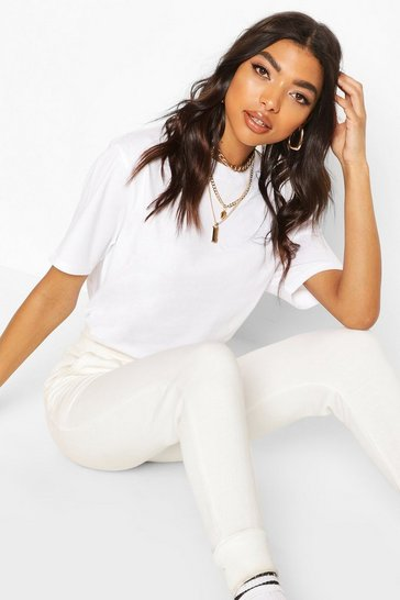 White Tall Round Neck Cotton T-Shirt