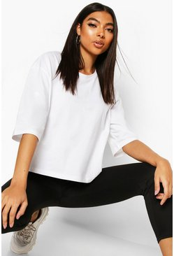 White Tall Basic Crop T-Shirt