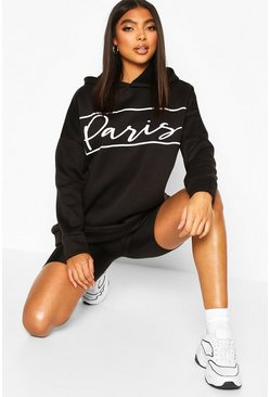 Black Tall Oversized 'Paris' Hoody