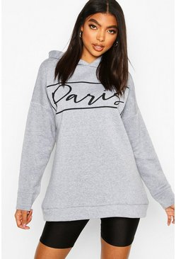 Grey Tall Oversized 'Paris' Hoody