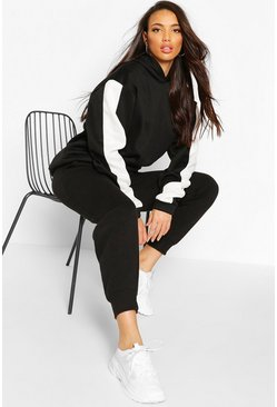 Black Tall Side Stripe Oversized Hoody