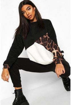 Zwart black Lange sweat met luipaardmotief en colourblocking