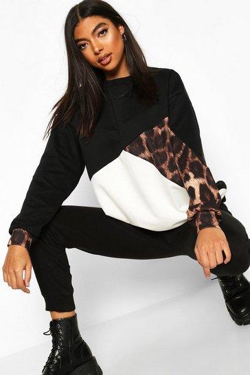 Black Tall Leopard Colour Block Sweatshirt