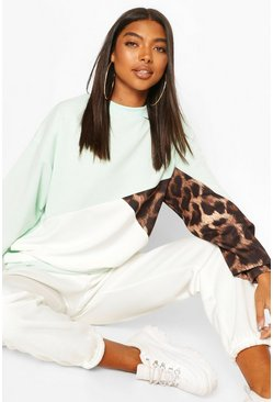 Mint green Tall Leopard Colour Block Sweat