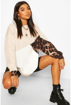 Oatmeal beige Tall Leopard Colour Block Sweat