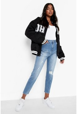 Mid blue Tall Distressed Mom Jeans