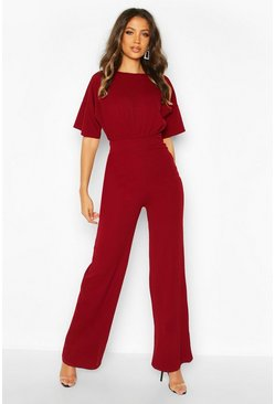 Berry red Tall Angel Sleeve Wide Leg Jumpsuit