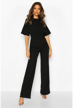 Tall Angel Sleeve Wide Leg Jumpsuit, Black nero