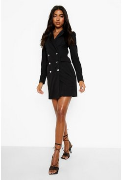 Tall Puff Sleeve Blazer Dress, Black Чёрный