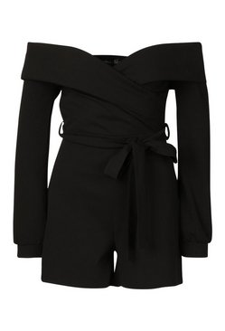 Black Tall Off The Shoulder Playsuit