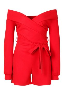 Red Tall Off The Shoulder Playsuit