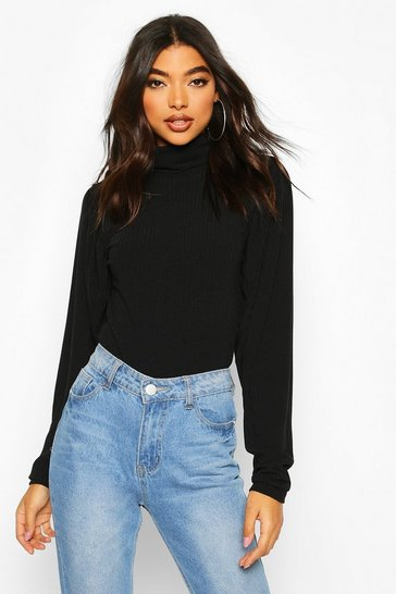 Black Tall Soft Rib Roll Neck Puff Sleeve Bodysuit