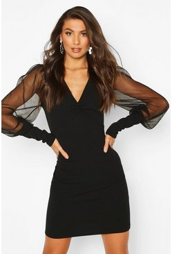 Black Tall Mesh Sleeve Bodycon Dress