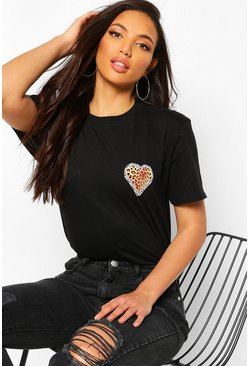 Black Tall Leopard Heart Pocket Print T-Shirt