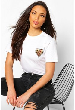 White Tall Leopard Heart Pocket Print T-Shirt