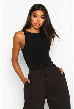 Black Tall Double Layer Slinky Racer Neck Bodysuit