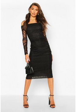 Tall Dobby Mesh Ruched Bardot Midi Dress, Black Чёрный