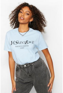 Blue Tall French Slogan T-Shirt