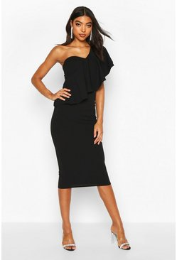 Black Tall Ruffle One Shoulder Midi Dress