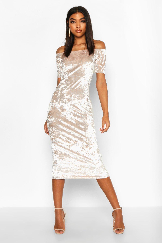 Tall Crushed Velvet Off The Shoulder Midi Dress Boohoo