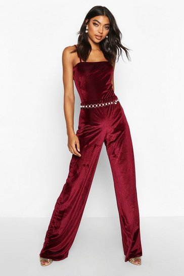 Berry red Tall Rib Velvet Wide Leg Trousers