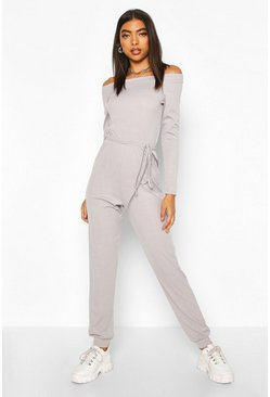 Grey Tall Rib Knit Off The Shoulder Jumpsuit