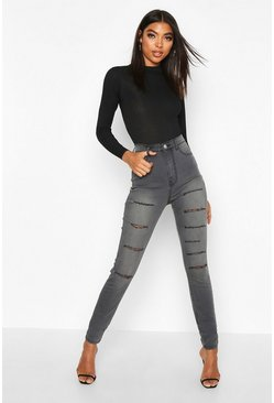 Grey Tall Distressed Slash Rip Jeggings