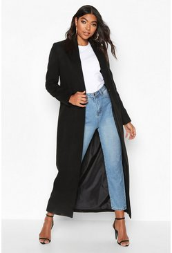 Black Tall Full Length Wool Look Coat