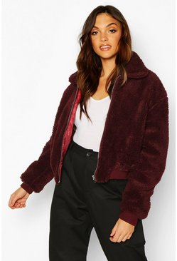 Berry red Tall Crop Faux Fur Teddy Bomber