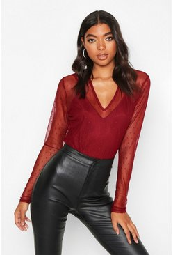 Berry red Tall Dobby Mesh Plunge Bodysuit