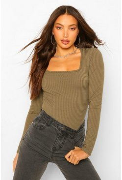 Green Tall Square Neck Rib Knit Bodysuit