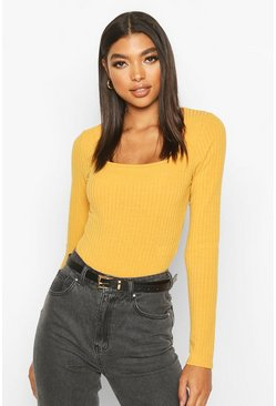 Mustard yellow Tall Square Neck Rib Knit Bodysuit