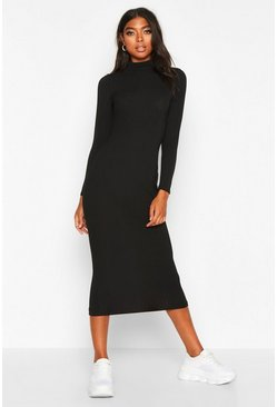 Black Tall Jumbo Rib Neck Midi Dress