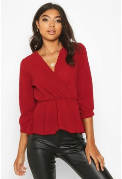 Berry red Tall Wrap Peplum Blouse