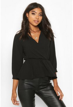 Black Tall Wrap Peplum Blouse