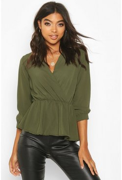 Khaki Tall Wrap Peplum Blouse