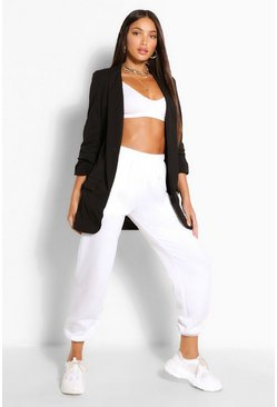 Black Tall Ruched Sleeve Blazer