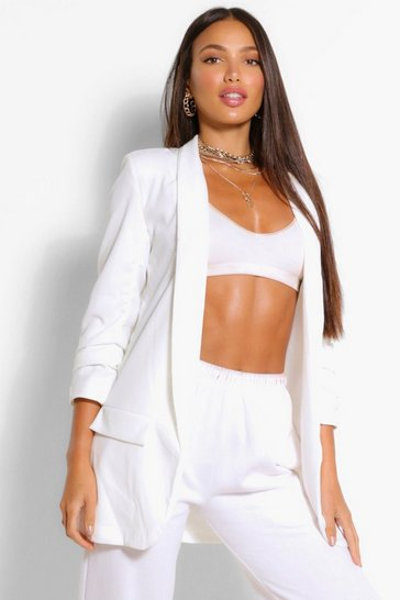 White Tall Ruched Sleeve Blazer