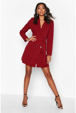 Berry red Tall Belted Blazer Dress