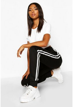 Black Tall Side Stripe Joggers