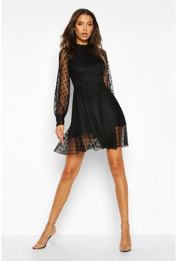 Black Tall Dobby Mesh Skater Dress