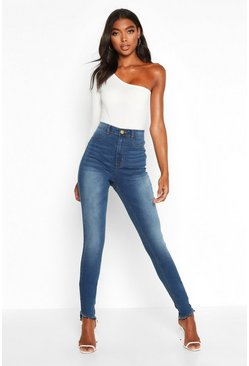 Mid blue blue Tall Distressed Hem Jeggings