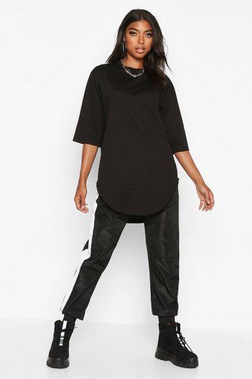 Black Tall Curve Hem Oversized T-Shirt