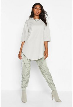 Sage green Tall Curve Hem Oversized T-Shirt