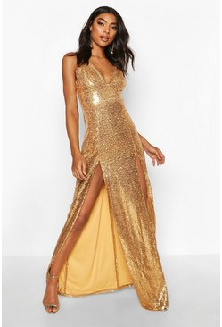 Gold metallic Tall Plunge Sequin Maxi Dress