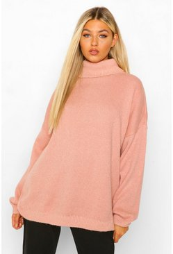 Apricot nude Tall Oversized Roll Neck Laguna Jumper