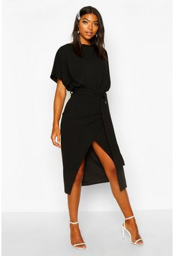 Black Tall Angel Sleeve Belted Wrap Midi Dress