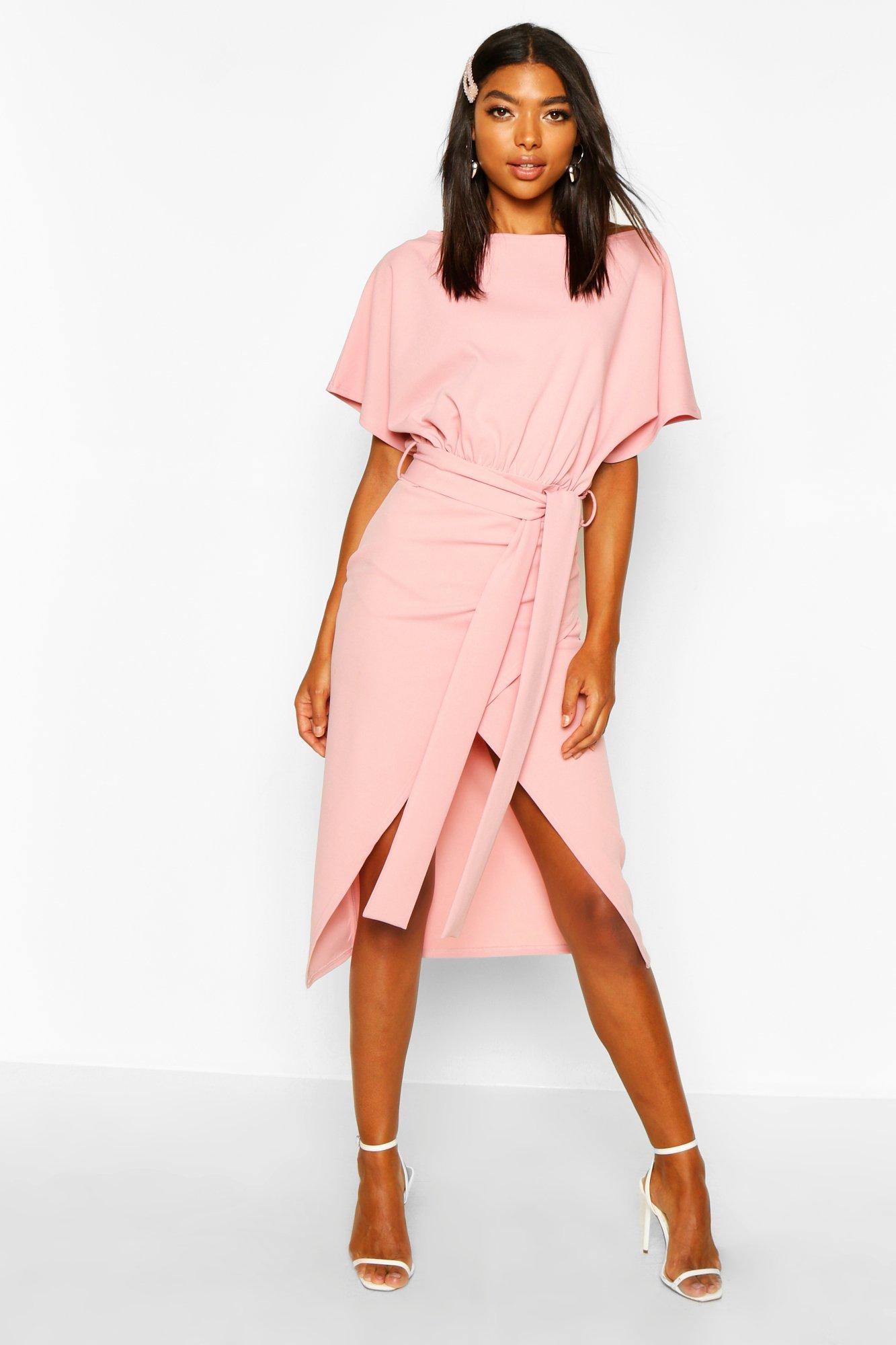 Tall Clothing Tall Angel Sleeve Belted Wrap Midi Dress
